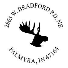 Moose Head New Custom Return Business Address Round Self Inking Rubber Stamp