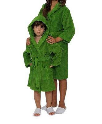 Enthusiastic Kids Hooded Terry Bathrobe, Spa, Party, Pool, Kids Robe Great Gift Apple Green
