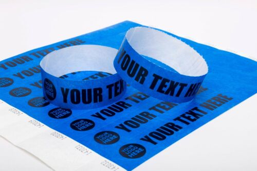 """100 Custom Printed 1/"""" Tyvek Paper Wristbands Events,Festivals,Parties,Security"""