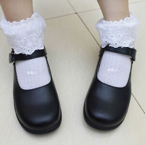 Cute-Lolita-Round-Toe-Women-Cosplay-Maid-Shoes-School-Mary-Janes-Shoes-Flats-C45