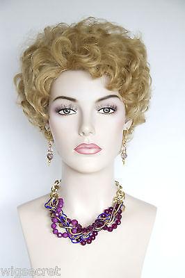 Golden Blonde Blonde Short Human Hair  Wavy Curly Wigs
