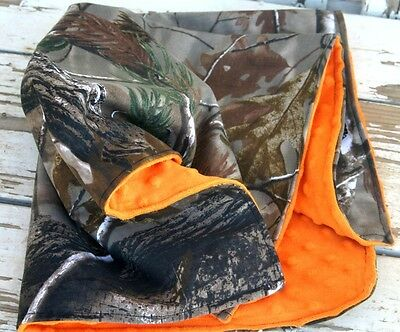 baby blanket 20x20 realtree or mossy oak Camo and orange minky