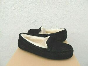 ec093dab616 Details about UGG BLACK ANSLEY MILKY WAY SUEDE/ WOOL MOCCASIN SLIPPERS, US  8/ EUR 39 ~NEW