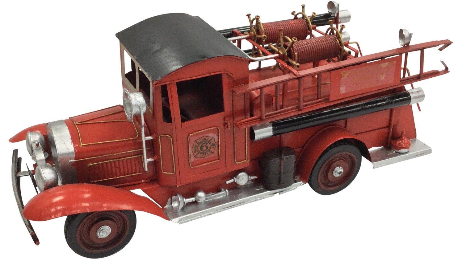 Classique Vintage Extra Large Rouge Fourgon D'Incendie Boite Métal 40cm Longueur