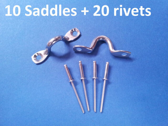 10 X SADDLES WITH POP RIVETS 316 GRADE STAINLESS STEEL 5mm EYE STRAPS BALUSTRADE
