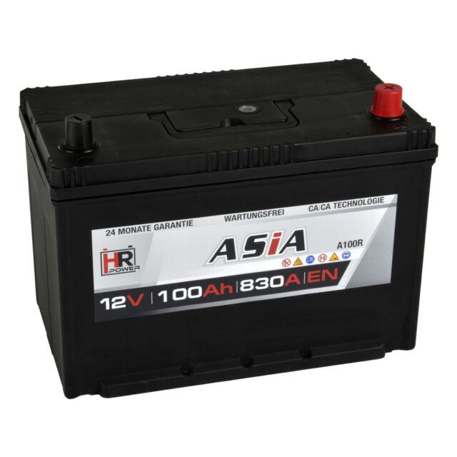 Autobatterie 12V 100Ah 830A/EN A100R ASIA Japan Pluspol Rechts Starterbatterie