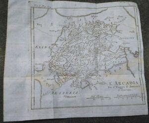 1790-GRECIA-BELLA-CARTA-GEOGRAFICA-MEGALOPOLI-TEGEA-ARCADIA-PELOPONNESO