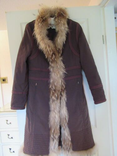 in Brown con Vintage Long pelliccia Glamorous bordatura Raccon Coat Boho Taifun di q8Zxwt