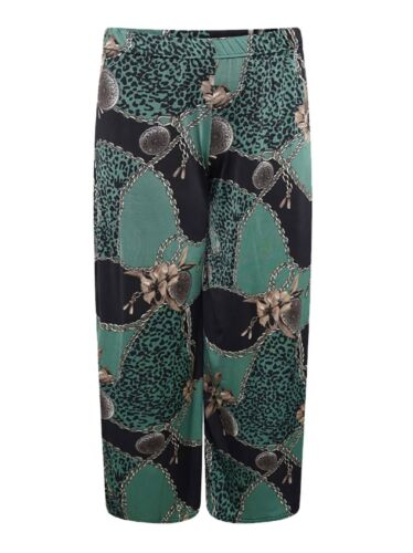 Womens Green Baroque Scarf Printed Palazzo Ladies Plus Size Wide Leg Trouser