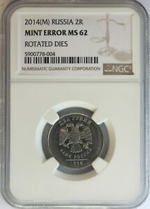 RUSSIA-2014-MMD-NICKEL-PLATED-STEEL-2-ROUBLES-ROTATED-DIES-MINT-ERROR-NGC-MS-62
