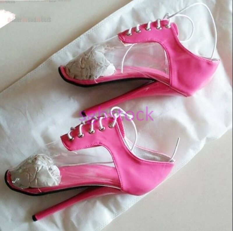 Women's Round toe Patent Leather Lace up up up Stilettos High heel Evening Party shoes e7880f