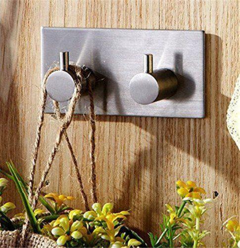 Strong Self Adhesive Stainless Steel Hooks Bathroom Robe Towel Hanger Wall Door