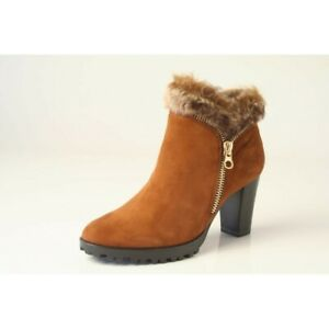831d5cfb36c Details about NEW!...CAPRICE COGNAC SUEDE FUR TRIMMED ANKLE BOOTS WITH GOLD  ZIPS...UK5.5