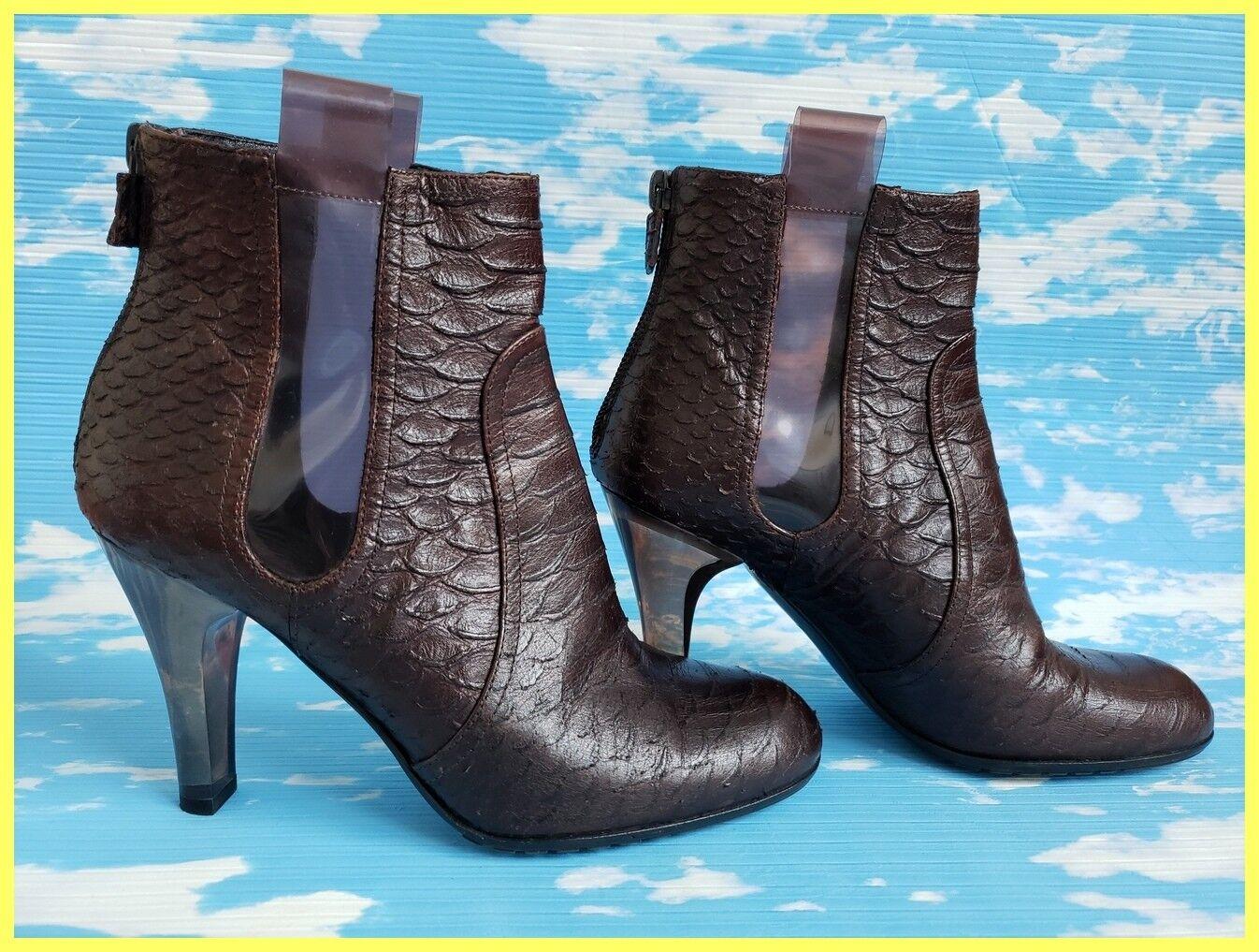 Serpiente marrón Emporio Armani parche de de de cuero en relieve en tacón botas al Tobillo transparente de PVC 35 4.5  tienda de venta
