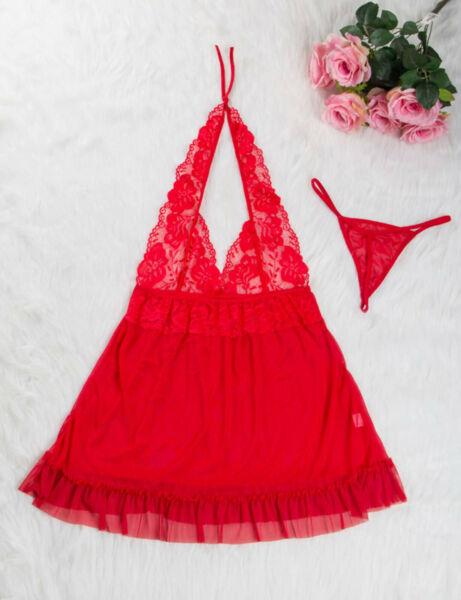 Sexy Dessous Damen Babydoll Unterwäsche Spitze Kleid Nachtwäsche Gift