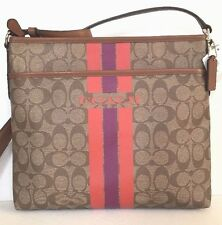NWT Coach 38402 Varsity Stripe File Bag Coated Canvas handbag Khaki / Brown