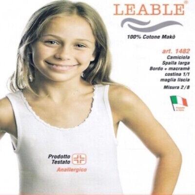 3 Canotte Spalla Larga Bimba Leable 1482 100% Cotone Makò Girocollo Bianco Aspetto Elegante