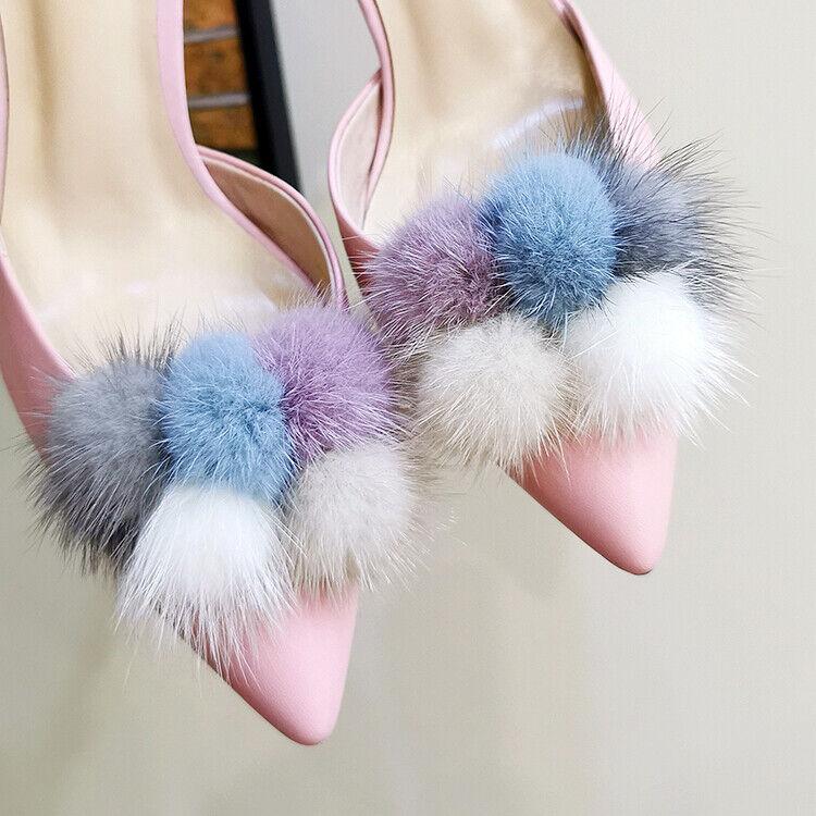 A Pair Mink Fur Pom Pom Shoe Clips Fluffy Boot Ornaments Shoe Charms Accessoires