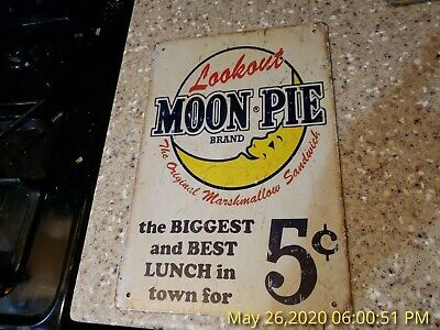 Moon Pie Vintage Metal Tin Ad Sign Food Snack Cafe Diner Kitchen Wall Art Decor