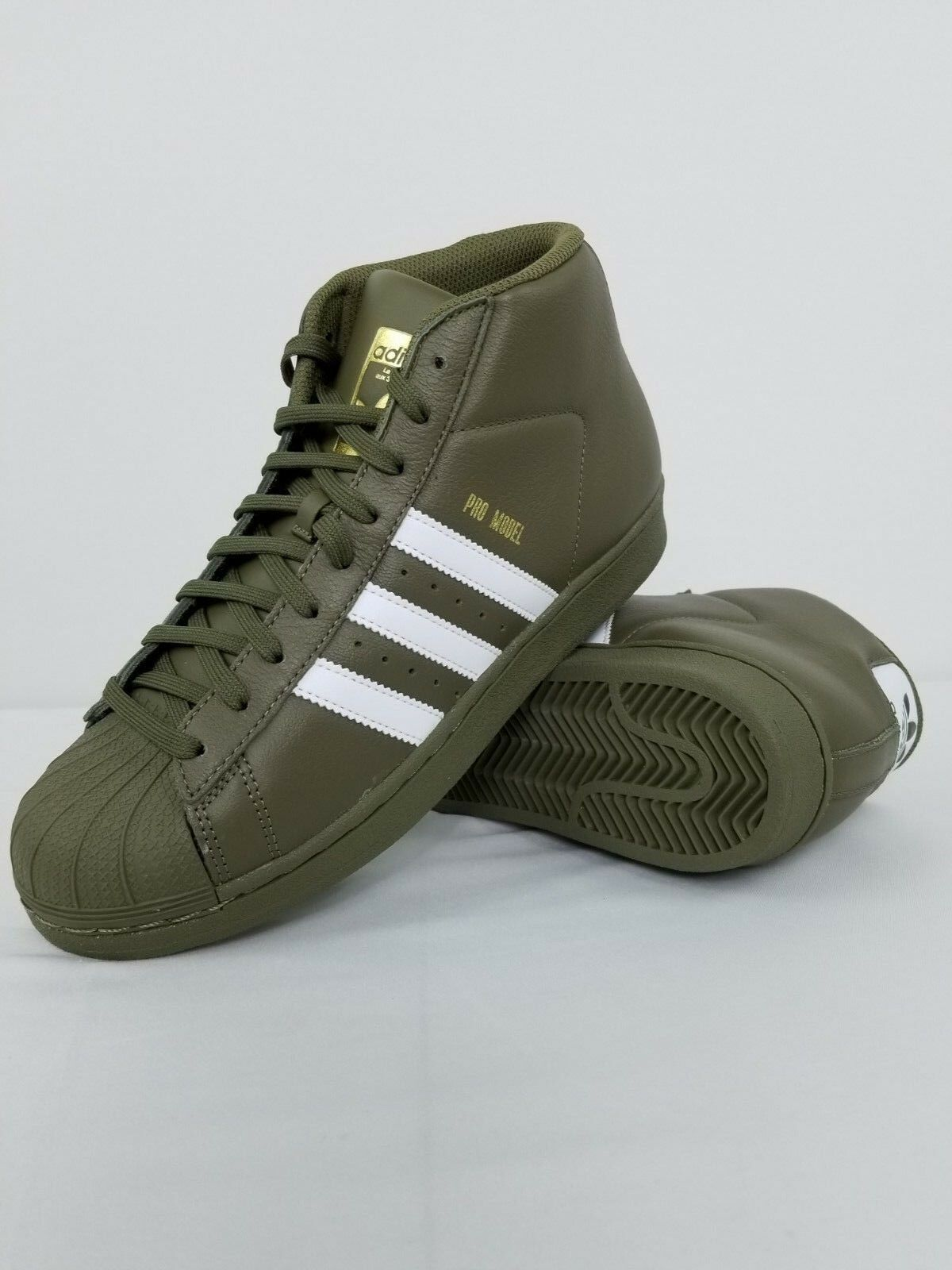 ADIDAS ORIGINALS PRO MODEL AC7067 OLIVE CARGO GREEN WHITE gold METALLIC 8, 9