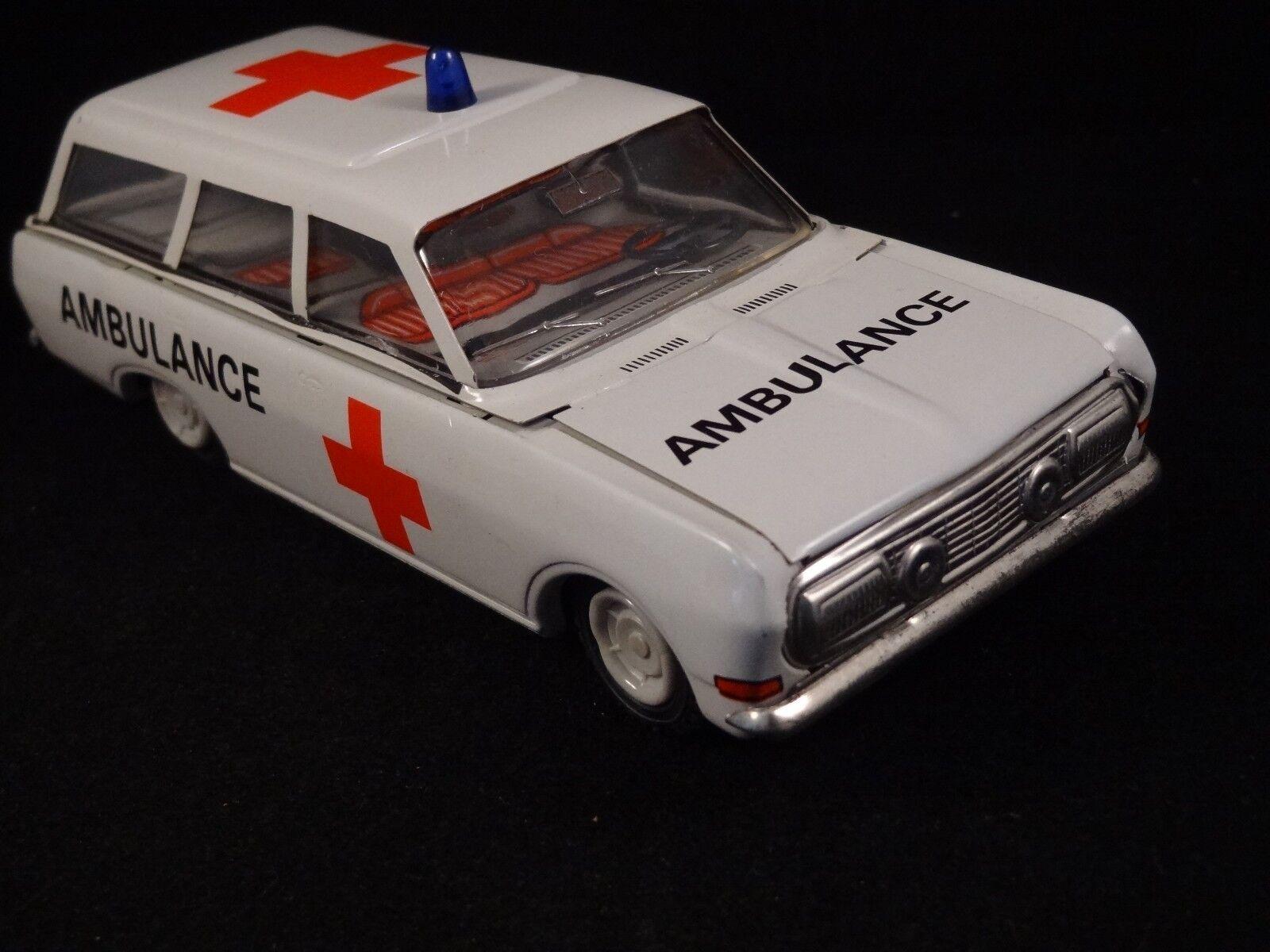 Ancien jouet voiture voiture voiture ambulance en tôle lithographiée Kombi VEB DDR 1960 70 1 30 54c462