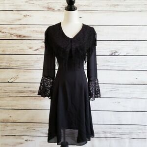 Gypsy-Boho-Black-Sheer-Chiffon-Bell-Sleeve-Dress-Steampunk-Size-Small