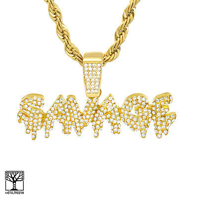 Hip Hop Gold Silver Plated Dripping SAVAGE Sign Pendant Chain Necklace HC 1277
