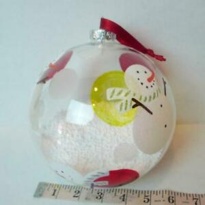 Large-Snow-Globe-Ball-Tree-Ornament-Painted-Snowman-Designs-Clear-Glass