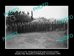 OLD-POSTCARD-SIZE-MILITARY-PHOTO-WWII-BRITISH-RAF-No-50-BOMBER-SQUADRON-c1940