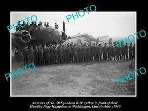 OLD-POSTCARD-SIZE-MILITARY-PHOTO-WWII-BRITISH-RAF-No-50-BOMBER-SQUADRON-c1940