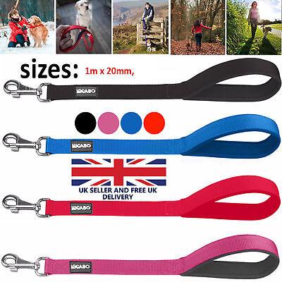 Ancol Nylong Perro Plomo con asa acolchada-opción de Negro Azul Rojo Y Rosa