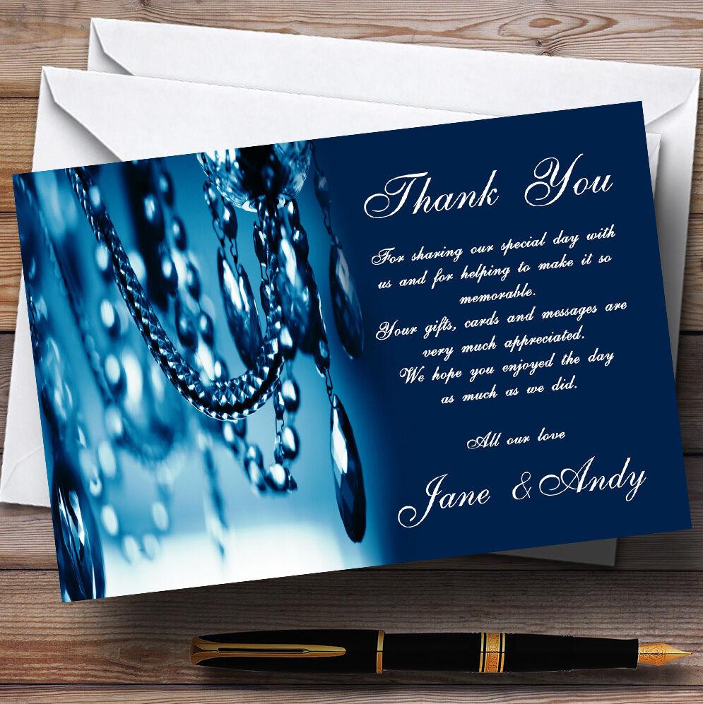 Blau Crystal Chandelier Personalised Wedding Thank You Cards