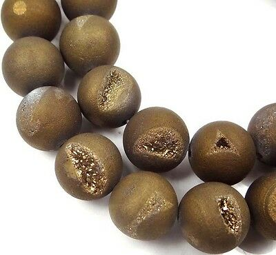 12mm Druzy Agate Matte Metallic Antique Bronze / golden Round Beads (15 pcs)