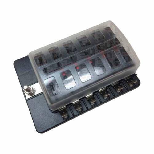 12 Way Marine Ski Sail Fish Boat 12V Blade Fuse Box Block Cover /& LED Indicators