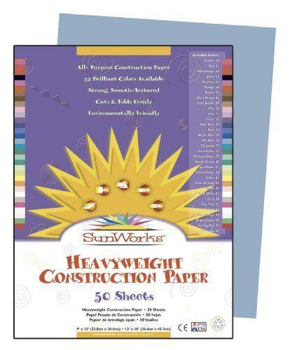 "Sunworks Groundwood Construction Paper PAC7603 12/"" X 9/"" Sky Blue"