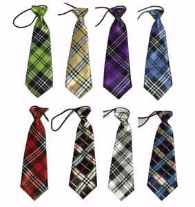 Kid-Children-Boy-Satin-Tartan-Elastic-Neck-Tie-Scotland-prom-school-UK