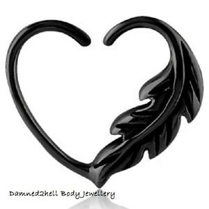 BLACK-SURGICAL-STEEL-DAITH-HEART-FEATHER-DESIGN-LEFT-or-RIGHT-SIDE-1-2mm-16g