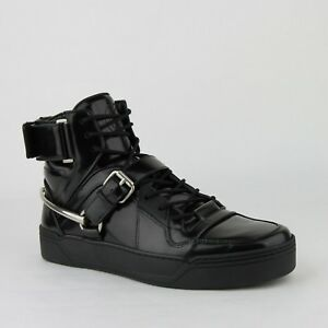 20be2841ccf1 Gucci Men s Black Patent Leather Hi Top Sneaker W strap and Horsebit ...