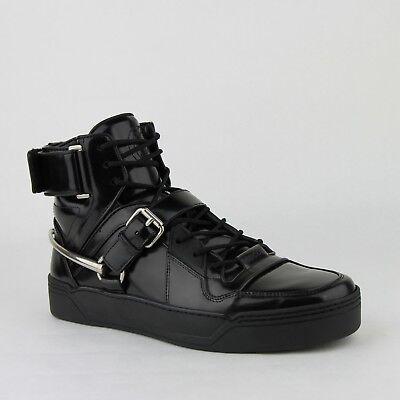 Gucci Men's Black Patent Leather Hi Top Sneaker W/strap and Horsebit 407373 1000