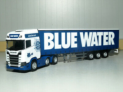 "Herpa 310659-1//87 scania CS 20 HD 6×2 cortinas planear-remolcarse /""Blue Water/"""