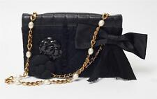 CHANEL Black MIXED ICONS 2.55 Flap RARE *VERY LIMITED* CAMELLIA Bow Quilted Bag