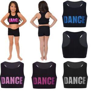 8c95c2a245a Girls Kids Dance Gym Racer Back Crop Top Ballet Training Tank ...