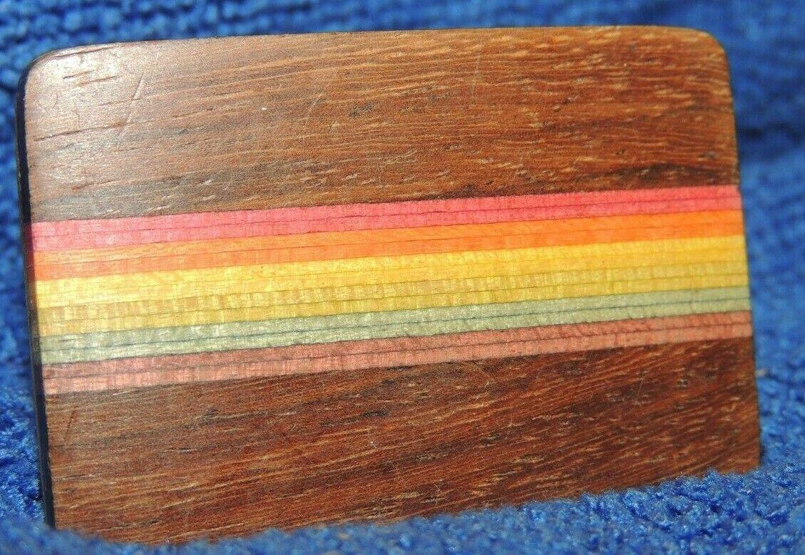 Ampersand Brass Belt Buckle Inlaid Wood rainbow Kalamazoo 1.5