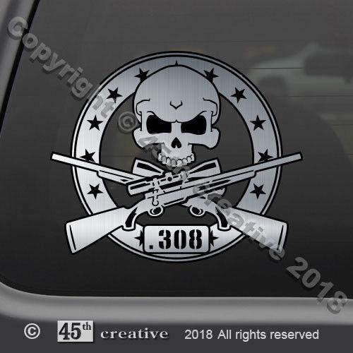 .308 Rifle Skull Decal Sticker big game hunting 30 caliber rifle crossbones