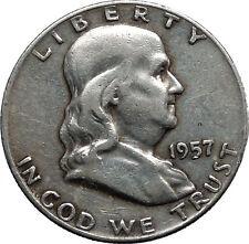 1957 Benjamin Franklin Silver Half Dollar United States Coin Liberty Bell i44585