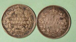 1916-1914-Canada-Silver-5-Cents-INV-S-267