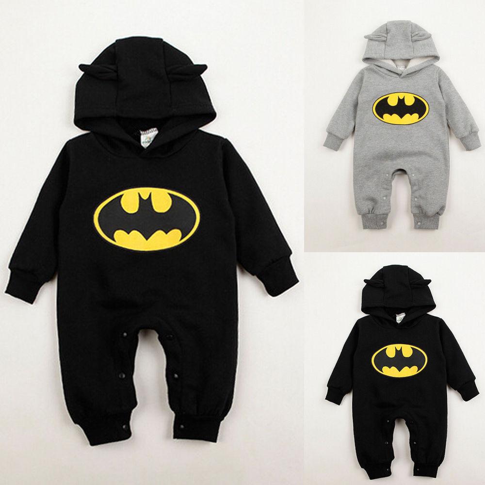 Kinder Baby Jungen Batman Kapuze Strampler Jumpsuit Overall Nachtwäsche Kostüm