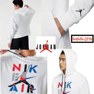 SZ-XL-Nike-Men-039-s-Air-Jordan-Jumpman-Retro-Legacy-AJ-4-Pullover-Hoodie-White