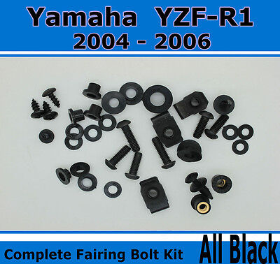 Black Complete Motorcycle Fairing Bolt Kit Yamaha 2004-2006 YZF-R1 Body Screws and Hardware Fasteners