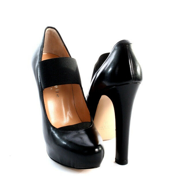 Isabelle 302 nero Leather Platform Pumps With Elastic Elastic Elastic Element 40   US 10 47313d
